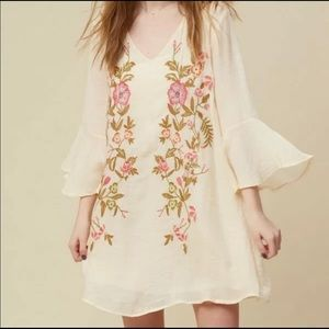 Altair's State boho floral embroidered lined dress